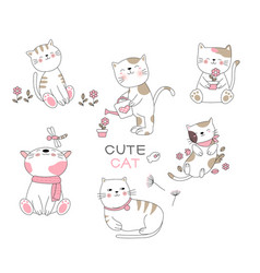 cute baby cat cartoon hand drawn stylefor vector image