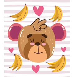 cute monkey with bananas and hearts cartoon animal vector image