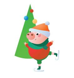 Cute pig is skating vector