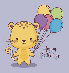 Cute tiger happy birthday card with balloons air vector