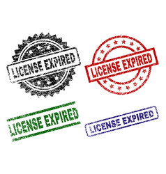 Damaged textured license expired seal stamps vector
