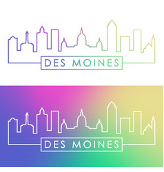 des moines city skyline colorful linear style vector image