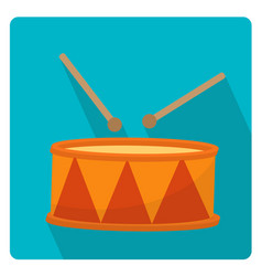 Drum a musical instrument icon flat style with vector