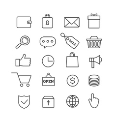 E-commerce shopping thin line icons set vector image