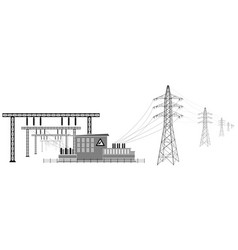 electrical substation with high voltage lines vector image