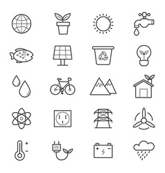 Environmental and Green Energy Icons Line vector