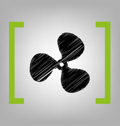 Fan sign black scribble icon in citron vector