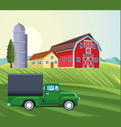Farming silo storehouse pickup truck house barn vector