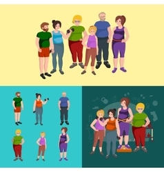 Fat old and young people female set vector image