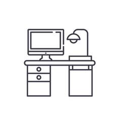 Freelancer computer desk line icon concept vector