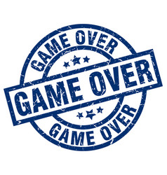 Game over blue round grunge stamp vector