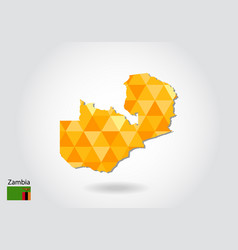 Geometric polygonal style map of zambia low poly vector