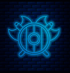 Glowing neon line medieval shield with crossed vector