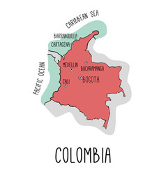 hand drawn map of colombia with main cities vector image