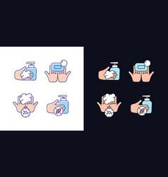 Hand hygiene light and dark theme rgb color icons vector