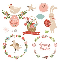 Happy easter graphic elements vector image