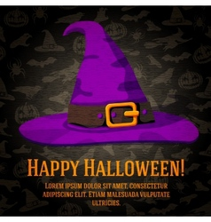 Happy halloween greeting card with hat of the vector image