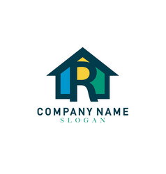 Home letter r design vector