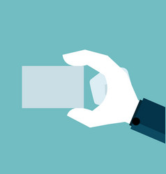 human hand holding blank paper vector image
