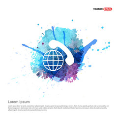 international call icon - watercolor background vector image