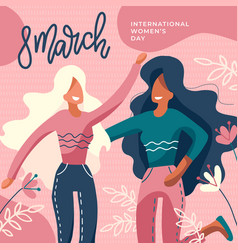 international women s day girls together two vector image