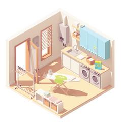 Isometric laundry room vector