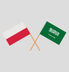 Kingdom of saudi arabia and poland flags vector