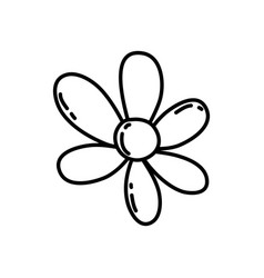 line beautiful flower with cute petals design vector image