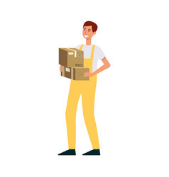 loader in overalls holding two brown boxes cartoon vector image