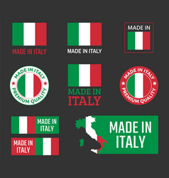made in italy icon set italian product labels vector image