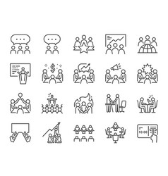 meeting line icon set vector image