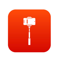 mobile phone on a selfie stick icon digital red vector image