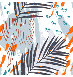 modern art with tropical leaves grunge marbling vector image