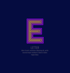 modern linear logo and sign the letter e vector image