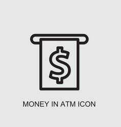 Money in atm icon vector
