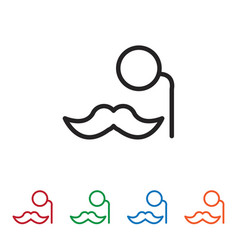 mustache with eye lens icon vector image