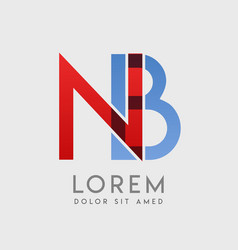 nb logo letters with blue and red gradation vector image