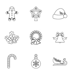 New year icons set outline style vector image