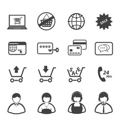 Online market and shopping icon set vector