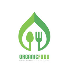 organic healthy food - logo template vector image