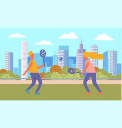 people playing tennis in city park cityscape vector image