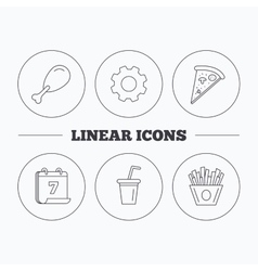 Pizza pizza and soft drink icons vector image