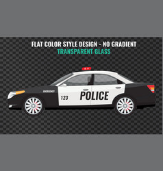 police car side view flat and solid color vector image