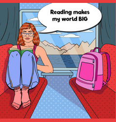 Pop art woman travel train and reading book vector