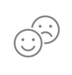 Positive and negative emoji line icon level vector