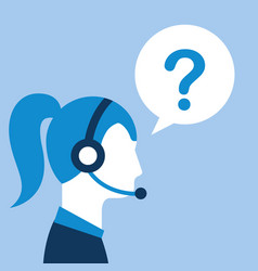 profile woman agent headset question mark customer vector image