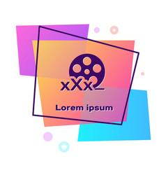 Purple film reel with inscription xxx icon vector