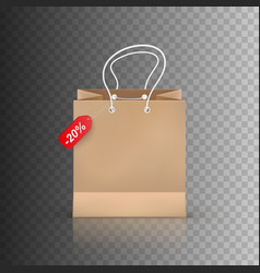 Realistic shopping bag isolated on transparent vector