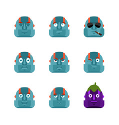 robot set emoji avatar sad and angry face guilty vector image