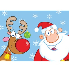 Santa and reindeer cartoon vector image